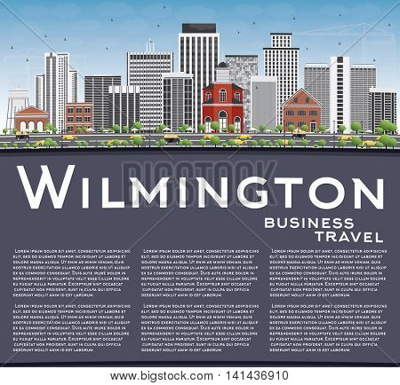Wilmington Skyline with Gray Buildings, Blue Sky and Copy Space. Business Travel and Tourism Concept with Modern Buildings. Image for Presentation Banner Placard and Web Site.