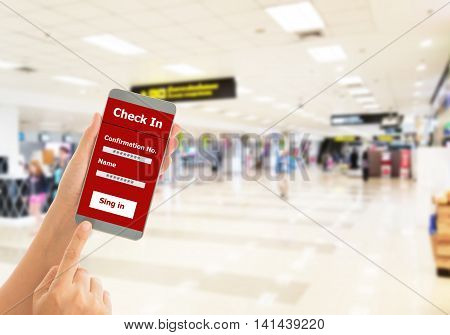 Using mobile smart phone Check In Airport Flight. Traveling Concept