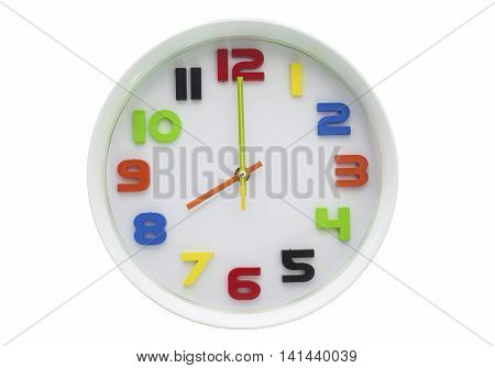 white wall clock isolated on white background.