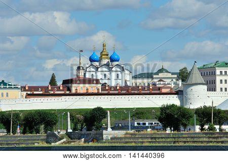 Kazan, Tatarstan, Russia - August 5, 2016. View of the left bank of the river Kazanka. Annunciation Cathedral. Kazan Kremlin.