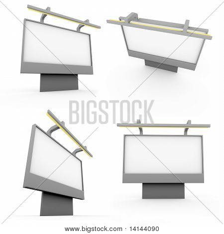 4 3D Billboard On White Background