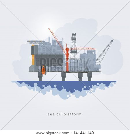 Offshore oil platform. Helipad, cranes, derrick ,hull column ,lifeboat ,workshop, manifold ,gas lift module