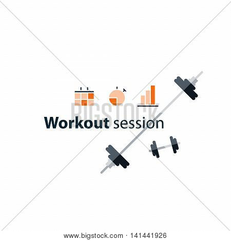 Workout session, exercises in gym, fitness time, barbell push-ups, sport event