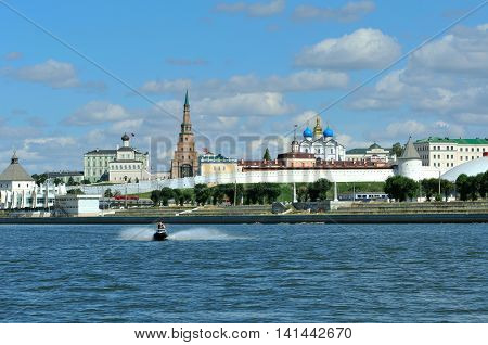 Kazan, Tatarstan, Russia - August 5, 2016. View of the left bank of the river Kazanka. Kazan Kremlin.