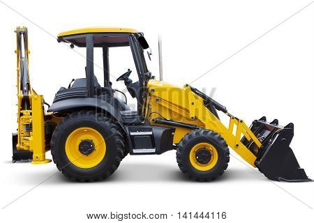 Side view of a new wheel loaders machine in the studio isolated on white background