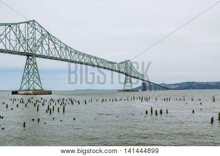 The Green Steel Astoria Bridge in Oregon