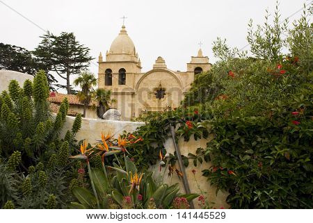 Old Carmel Mission and its garden, California