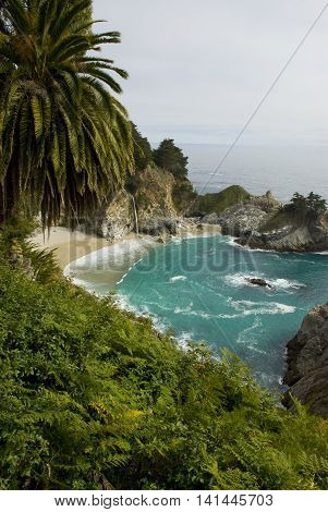 Turquoise water of McWay Falls near Big Sur, California