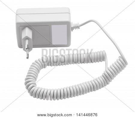 Isolated black adapter on white background. Isolated