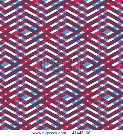 Seamless red pattern with parallel intertwine lines, abstract vector textured visual covering with multiple layers.
