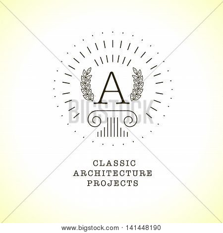 Vector flat city architect studio logo A design isolated on white background. Classic ancient architecture bureau insignia icon. Building company, construction industry brand mark icon.