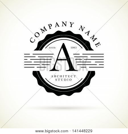 Vector flat city architect studio logo design A isolated on white background. Vintage label for architect bureau insignia. Building company, construction industry brand mark icon.