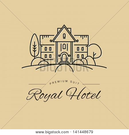 Vector simple flat linear hotel chain logo, insignia design isolated on light background. Premuim hotel chain brand mark. House with garden illustration.