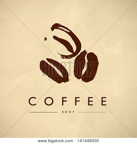 Vector vintage coffee shop emblem logo design isolated. Coffee store label insignia template. Coffee bean silhouette hand drawn. Coffee seed simple icon.
