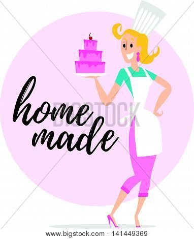 Flat friendly smiling person character portrait. Lady chef portrait isolated on white background. Cartoon style. Human profession icon. Awesome smiling woman stand holding tasty cake.