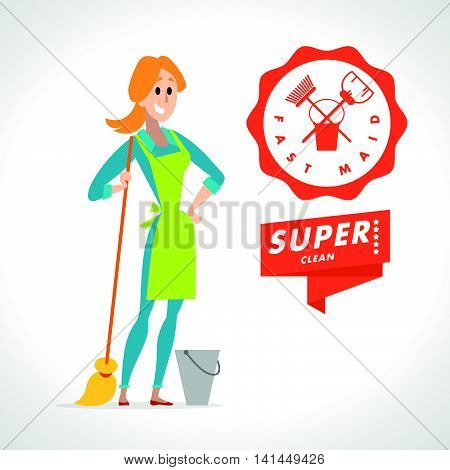 Flat friendly smiling person character portrait. Maid portrait isolated on white background. Cartoon style. Human profession icon. Awesome smiling young lady worker standing.