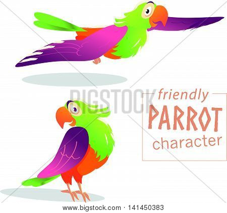 Vector friendly bird character isolated on white background. Happy and cheerful friendly parrot standing, flying. Cartoon character style.