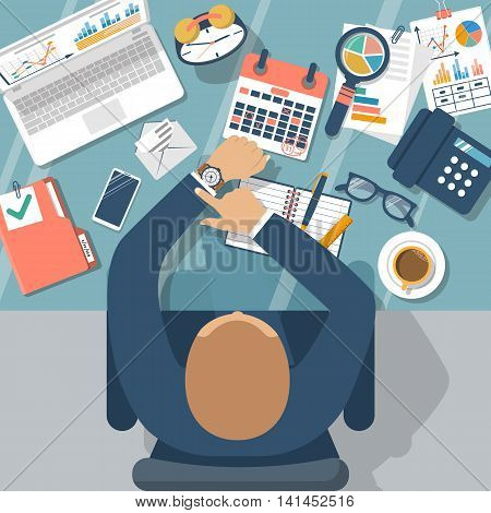 Deadline concept flat design vector. Management schedule time management. Last day month. Calendar with notes. Mark on dates. Planning deadline. 31 numbers. Man at table checks the time.