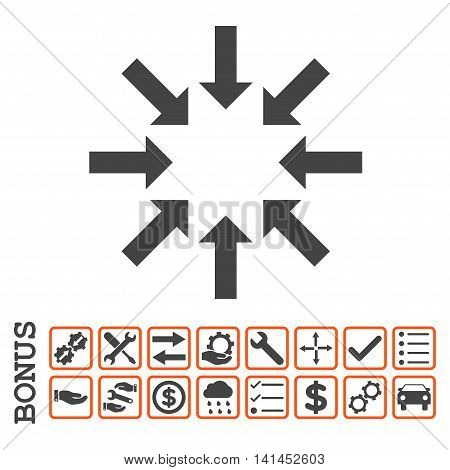 Collapse Arrows icon with bonus pictograms. Vector style is flat iconic symbol, orange and gray colors, white background. Bonus style is bicolor square rounded frames with symbols inside.