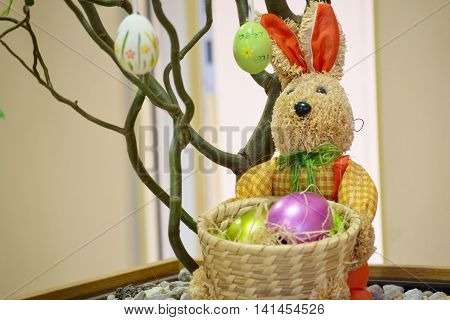 Easter decoration with bunny and colored eggs