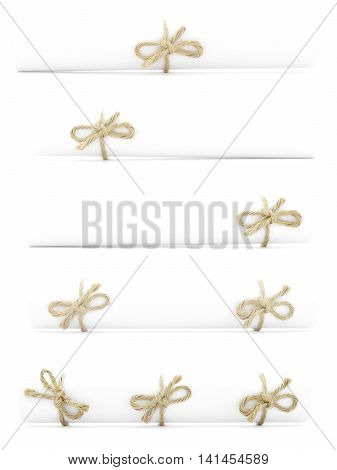 White paper rolls tied with natural cords and nodes isolated