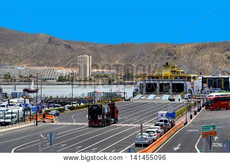 Los Cristianos harbour Tenerife Canary Islands Spain Europe - June 13 2016: Fred Olsen ferry in Los Crristianos harbour Tenerife