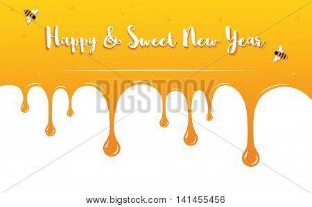 honey drips with Shana Tova Greetings . Rosh Hashanah card. vector illustration