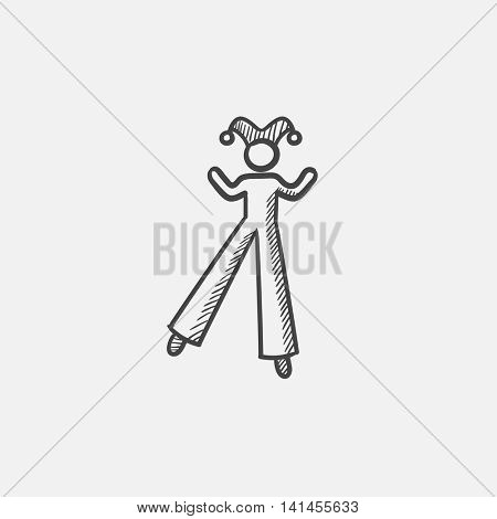 Clown on stilts  sketch icon for web, mobile and infographics. Hand drawn vector isolated icon.