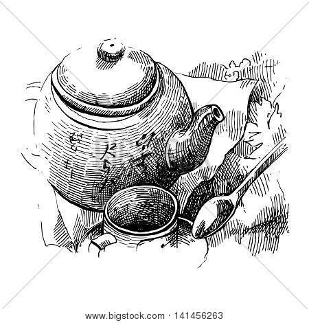 Still life with tea pot and cup drawn by hand. Sketch style illustration.