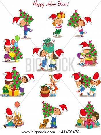 Vector. Cartoon cute children wearing Santa Claus in preparing for the holiday Christmas and New Year. Isolated objects.