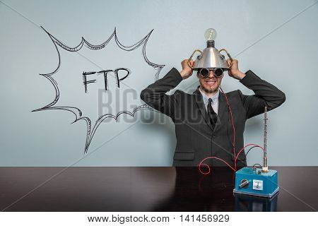 Ftp text with vintage businessman and machine at office