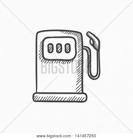 Gas station vector sketch icon isolated on background. Hand drawn Gas station icon. Gas station sketch icon for infographic, website or app.