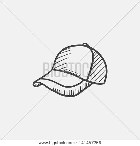 Baseball hat sketch icon for web, mobile and infographics. Hand drawn vector isolated icon.