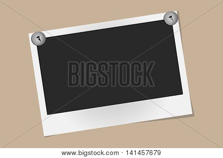 Realistic Vector Photo Frame On Metal Rivets Isolated On Beige Background. Template Photo Design, Ve