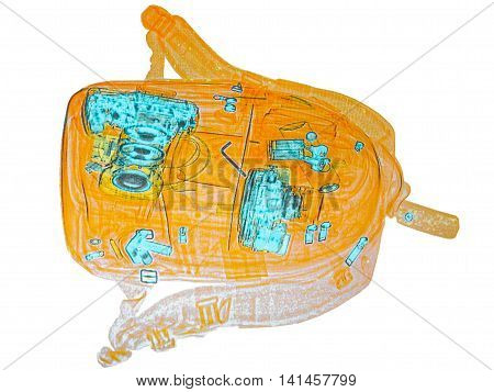 the photographer's backpack under a X-ray. check of baggage at the airport.Camera and lenses. check of baggage at the airport customs.