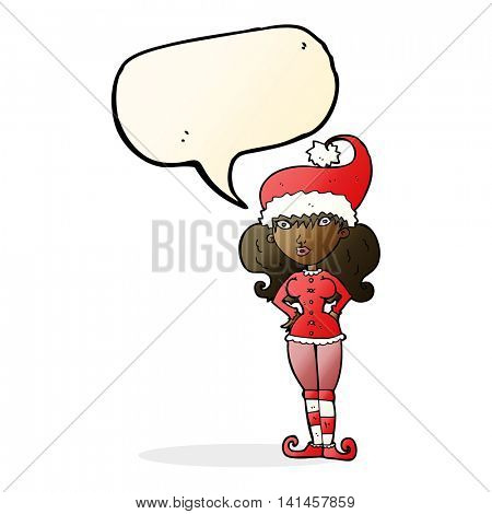 cartoon santa's helper woman with speech bubble