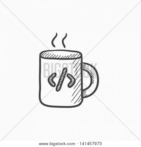 Cup of coffee with code sign vector sketch icon isolated on background. Hand drawn Cup of coffee with code sign icon. Cup of coffee with code sign sketch icon for infographic, website or app.