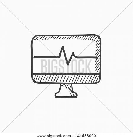 Heart beat monitor vector sketch icon isolated on background. Hand drawn Heart beat monitor icon. Heart beat monitor sketch icon for infographic, website or app.