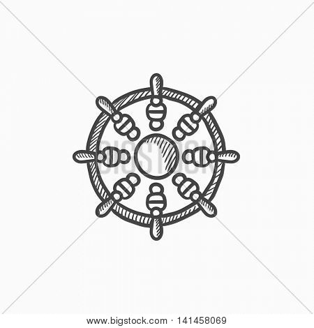 Helm vector sketch icon isolated on background. Hand drawn Helm icon. Helm sketch icon for infographic, website or app.
