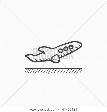 Plane taking off vector sketch icon isolated on background. Hand drawn Plane taking off icon. Plane taking off sketch icon for infographic, website or app.