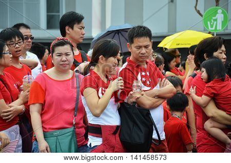 SINGAPORE - 30 JULY 2016: Crowds gather in the new National Studium during National Day Parade rehearsal 2016 in Singapore