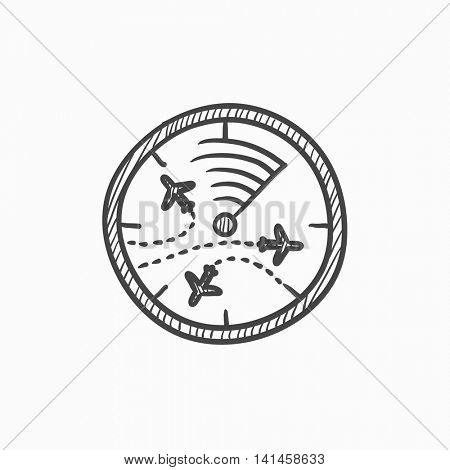 Radar screen with planes vector sketch icon isolated on background. Hand drawn Radar screen with planes icon. Radar screen with planes sketch icon for infographic, website or app.