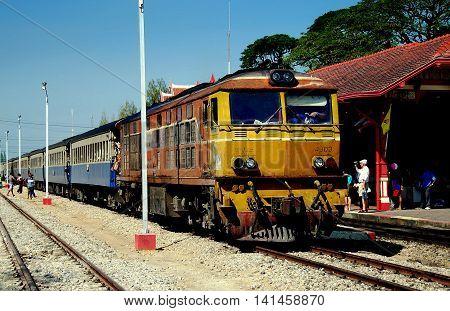 Hua Hin Thailand - December 31 2009: Thai Railways regional train on Track One at the Hua Hin Railway Station *