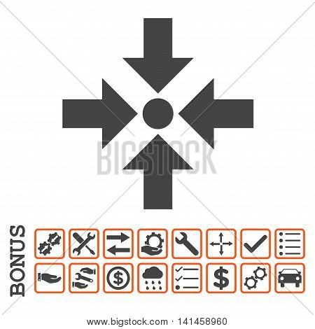 Shrink Arrows icon with bonus pictograms. Vector style is flat iconic symbol, orange and gray colors, white background. Bonus style is bicolor square rounded frames with symbols inside.