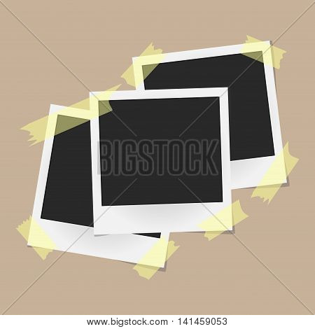 Set Of Realistic Vector Photo Frames On Sticky Tape Isolated On Beige Background. Template Photo Des