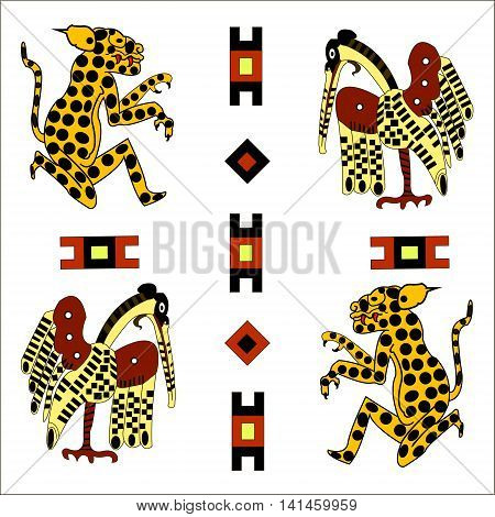Ethnic pattern of American Indians: the Aztecs, the Mayans, the Incas. Heron and jaguar. Vector illustration