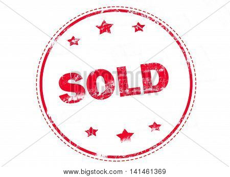 Sale, Sold, Sold out on red grunge rubber stamp