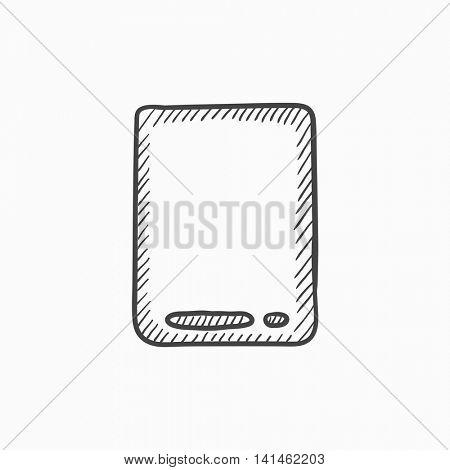 Touch screen tablet vector sketch icon isolated on background. Hand drawn Touch screen tablet icon. Touch screen tablet sketch icon for infographic, website or app.