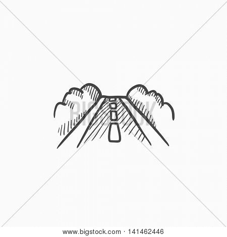Road vector sketch icon isolated on background. Hand drawn Road icon. Road sketch icon for infographic, website or app.