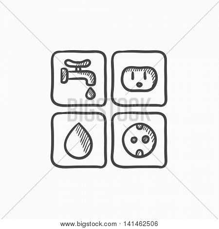 Utilities signs electricity and water vector sketch icon isolated on background. Hand drawn Electricity and water signs icon. Electricity and water signs sketch icon for infographic, website or app.